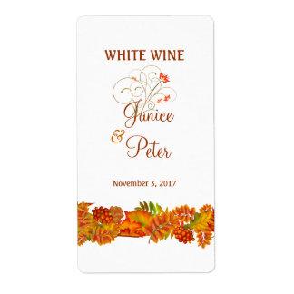 Hojas de otoño rojas del oro que casan la etiqueta etiqueta de envío