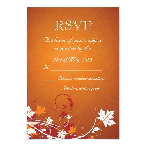 """Hojas de otoño RSVP abstracto Invitación 3.5"""" X 5"""""""