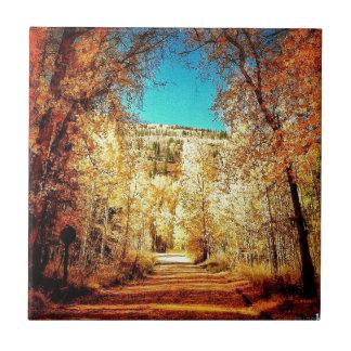 Hojas de otoño, temporada de otoño, árboles 01 azulejo cuadrado pequeño