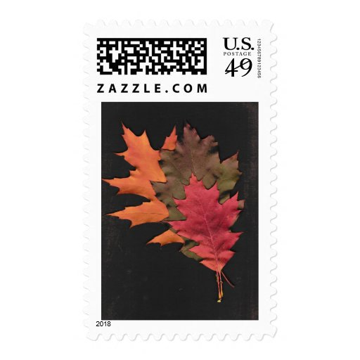 Hojas de otoño timbre postal