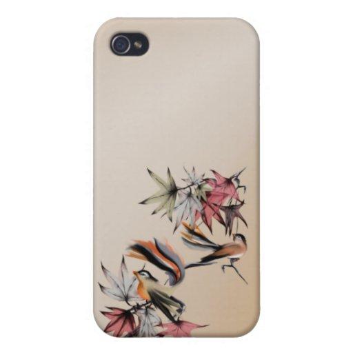 Hojas de otoño y dos pájaros iPhone 4/4S carcasas