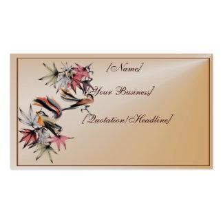 Hojas de otoño y dos profilecard_busines de los pá tarjetas de visita