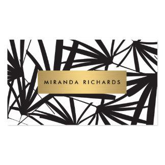 Hojas de palma blancos y negros intrépidas de lujo tarjetas de visita
