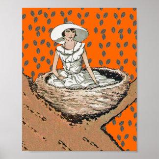 Hojas de señora In White Bird Nest del vintage Posters