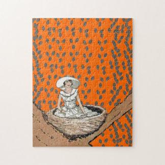 Hojas de señora In White Bird Nest del vintage Puzzle
