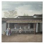 Hojas de té de sequía (w/c en el papel) azulejos