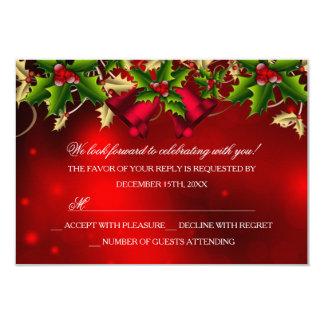 Hojas del acebo y fiesta de Navidad roja RSVP de
