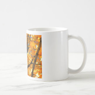 Hojas del amarillo taza