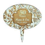 Hojas del aniversario de boda del oro 50.o decoraciones de tartas
