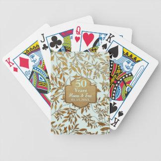 Hojas del aniversario de boda del oro 50.o baraja cartas de poker