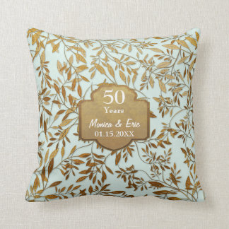 Hojas del aniversario de boda del oro 50.o almohada