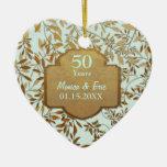 Hojas del aniversario de boda del oro 50.o ornamento para reyes magos