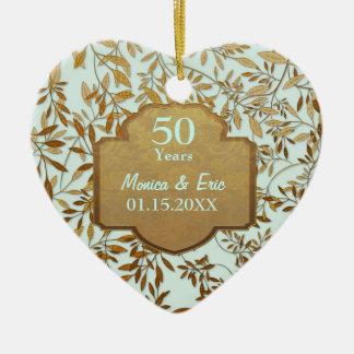 Hojas del aniversario de boda del oro 50 o ornamento para reyes magos