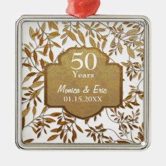 Hojas del aniversario de boda del oro 50.o adornos de navidad