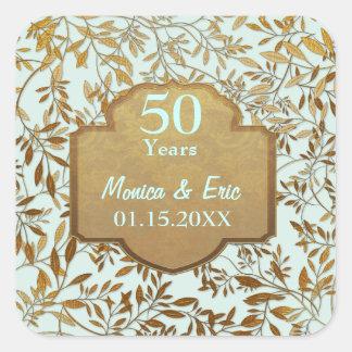 Hojas del aniversario de boda del oro 50 o calcomania cuadrada personalizada