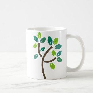 Hojas del árbol taza de café