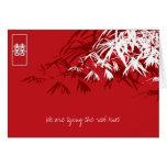 Hojas del bambú + Invitación blanca roja 2 del dob Felicitación