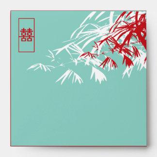 Hojas del bambú + Sobre del boda del azul del