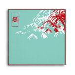 Hojas del bambú + Sobre del boda del azul del dobl