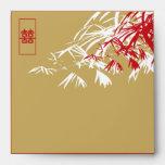 Hojas del bambú + Sobre del boda del doble XI Brow