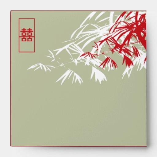 Hojas del bambú + Sobre del boda del gris del dobl
