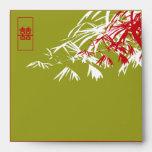 Hojas del bambú + Sobre del boda del jade del dobl
