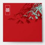 Hojas del bambú + Sobre del boda del rojo del dobl
