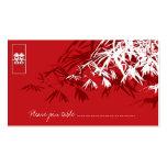 Hojas del bambú + Tarjeta blanca roja del lugar de