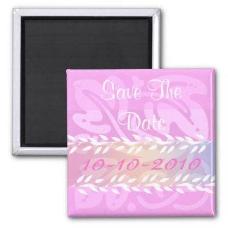 Hojas del blanco en rosa imanes de nevera