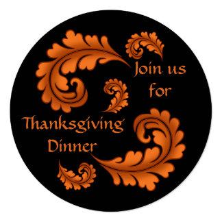 """Hojas del damasco del otoño en cena negra de la invitación 5.25"""" x 5.25"""""""