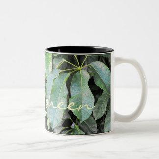 Hojas del jardín taza de dos tonos