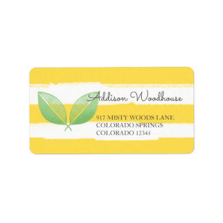 Hojas del limón amarillas y verde el | etiquetas de dirección