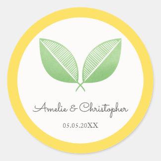 Hojas del limón boda personalizado el | amarillo y pegatina redonda