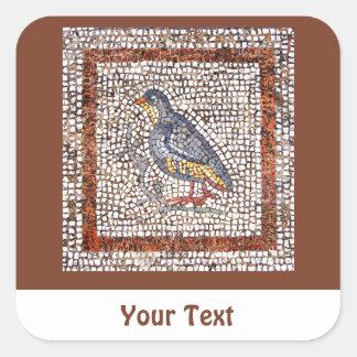 Hojas del mosaico del pájaro de Kos de pegatinas Calcomanías Cuadradas