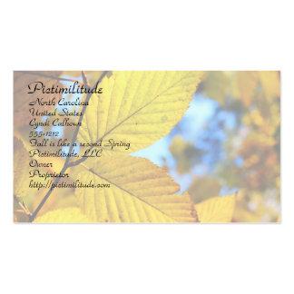 Hojas del oro en tarjeta de visita del otoño
