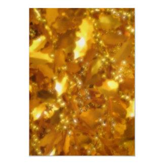 Hojas del oro invitación 12,7 x 17,8 cm
