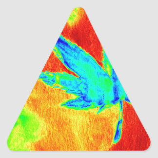 Hojas del pote en para arriba calentada imagen pegatinas trianguladas