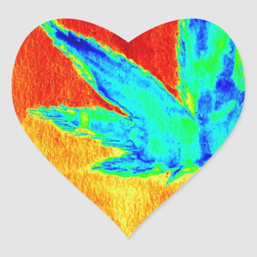 Hojas del pote en para arriba calentada imagen calcomanía de corazón