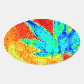 Hojas del pote en para arriba calentada imagen calcomania de óval personalizadas
