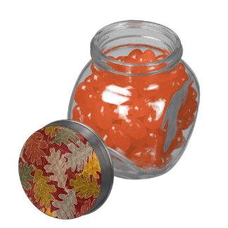 Hojas del roble del otoño jarras de cristal jelly bely