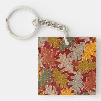 Hojas del roble del otoño llavero cuadrado acrílico a doble cara