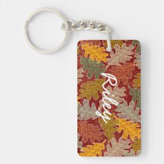Hojas del roble del otoño llavero rectangular acrílico a doble cara