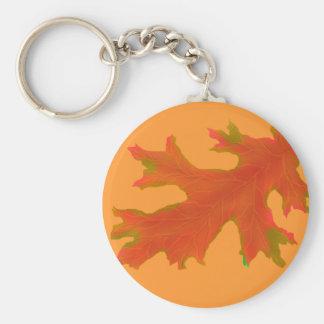 Hojas del roble del otoño llavero redondo tipo pin