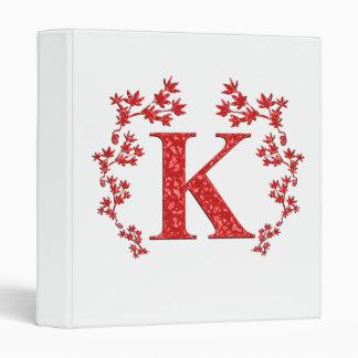Hojas del rojo de la letra K del monograma