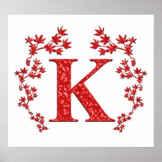 Hojas del rojo de la letra K del monograma Póster