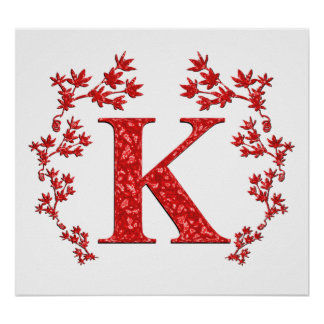 Hojas del rojo de la letra K del monograma Posters