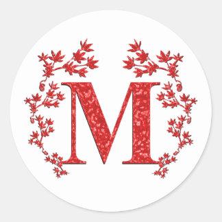 Hojas del rojo de la letra M del monograma Etiquetas