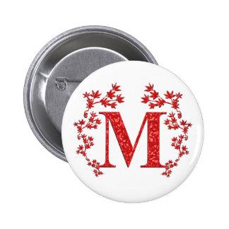 Hojas del rojo de la letra M del monograma Pin