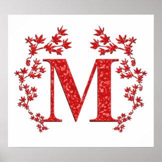 Hojas del rojo de la letra M del monograma Poster