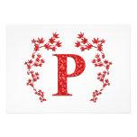 Hojas del rojo de la letra P del monograma Anuncio